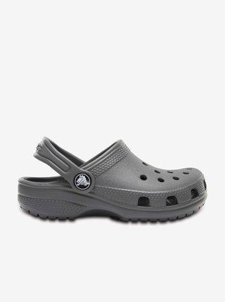 Šedé detské šľapky Crocs