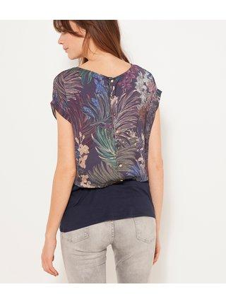 Černé tričko s květovaným vzorem CAMAIEU