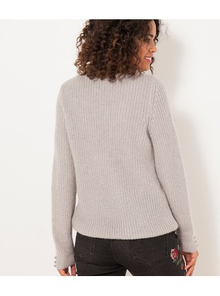 Svetlošedý rebrovaný sveter CAMAIEU