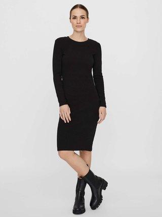 Černé svetrové pouzdrové šaty VERO MODA Natasha