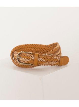 Svetlohnedý koženkový pletený opasok CAMAIEU