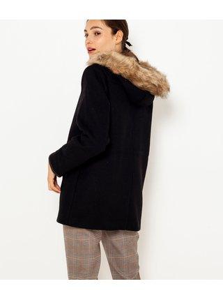 Černá zimní bunda s umělým kožíškem CAMAIEU