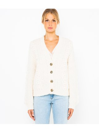 Bílý krátký pletený cardigan CAMAIEU