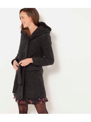Tmavošedý zimný kabát s prímesou vlny CAMAIEU