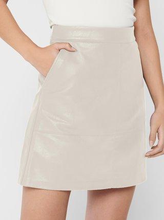 Krémová koženková sukňa ONLY Lisa
