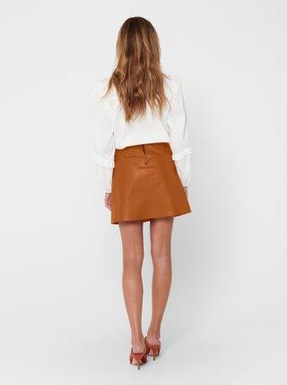 Hnedá koženková sukňa ONLY Lisa