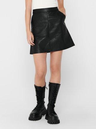 Čierna koženková sukňa ONLY Lisa