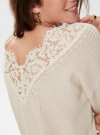 Krémový sveter s krajkou ONLY Xenia