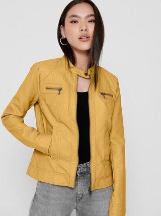 Žltá koženková bunda ONLY Bandit