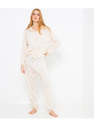 Krémové pyžamové tepláky se zavazováním CAMAIEU
