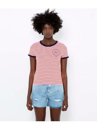 Červeno-biele pruhované tričko CAMAIEU
