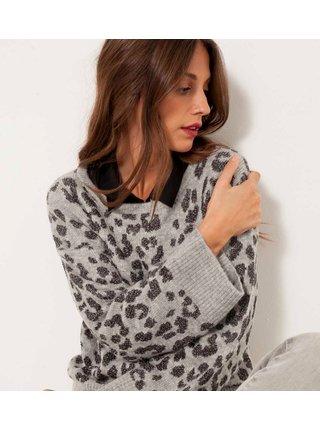 Svetlošedý sveter so zvrieracím vzorom CAMAIEU