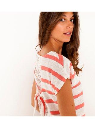 Červeno-bílé pruhované tričko CAMAIEU
