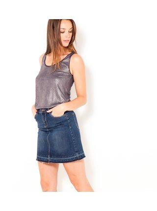 Tmavomodrá rifľová sukňa s vreckami CAMAIEU