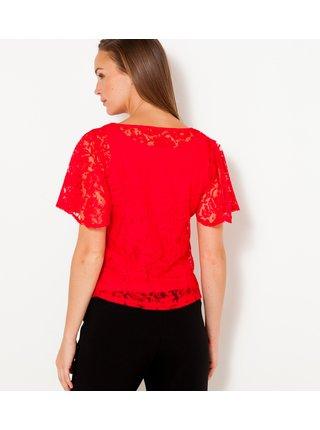 Červené krajkové tričko CAMAIEU