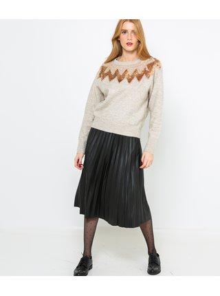 Krémový zimný sveter so zdobením CAMAIEU