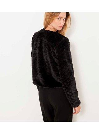 Černá bunda z umělé kožešiny CAMAIEU