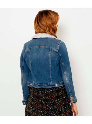 Modrá džínová bunda s kožešinovým límcem CAMAIEU