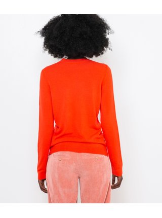 Neonově oranžový svetr CAMAIEU