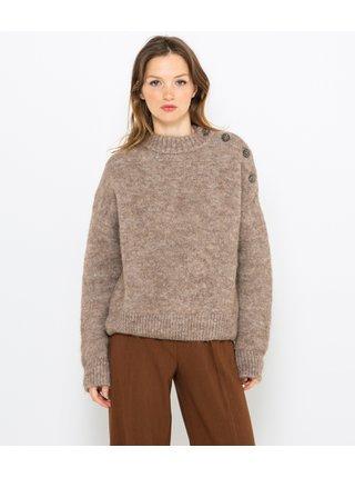 Hnědý vlněný svetr z alpaky CAMAIEU