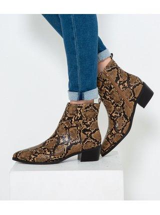 Hnědé chelsea boty s hadím vzorem CAMAIEU