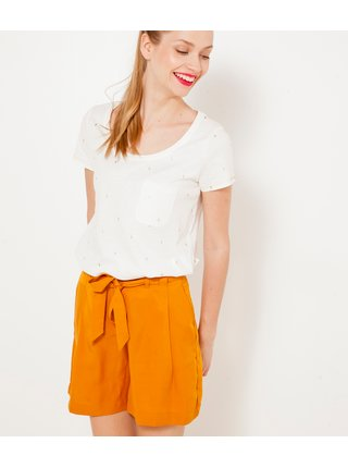 Bílé puntíkované tričko s kapsičkou CAMAIEU