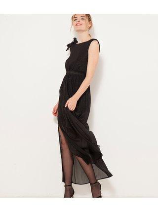 Černé dlouhé šaty s mašlí CAMAIEU