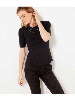 Černé tričko s perlovým zdobením CAMAIEU