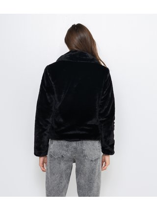 Čierna bunda z umelej kožušiny CAMAIEU