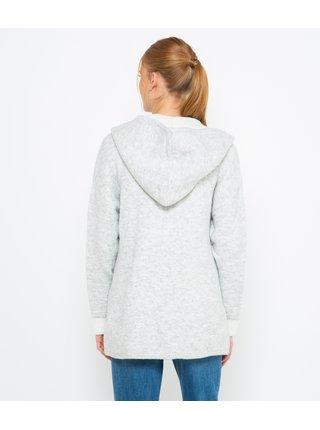 Svetlošedý voľný sveter s kapucou CAMAIEU