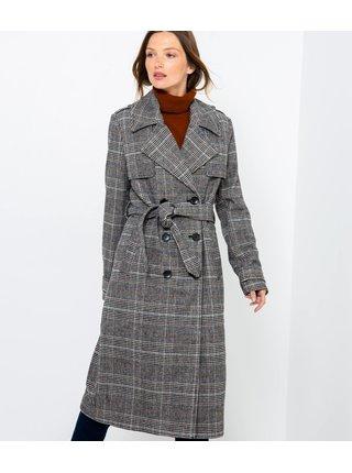 Šedý dlouhý kostkovaný kabát CAMAIEU