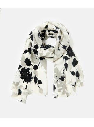 Černo-bílá květovaná šála CAMAIEU