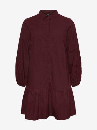 Vínové košilové šaty VERO MODA CURVE Abby