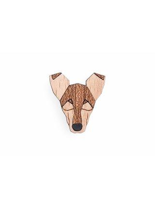 Dřevěná brož ve tvaru psa Smooth Collie Brooch