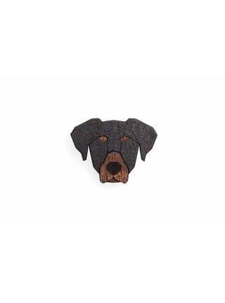 Dřevěná brož ve tvaru psa Dobermann Brooch