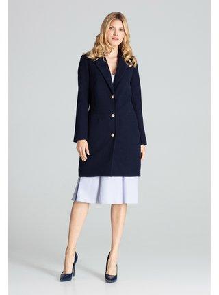 Tmavě modrý dámský kabát Figl