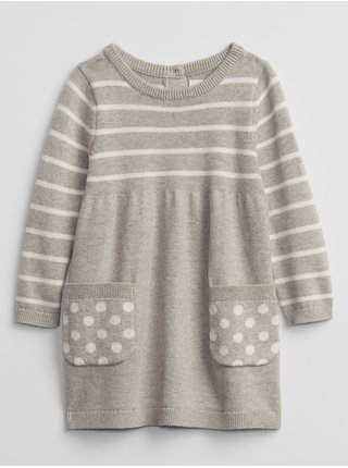 Šedé holčičí šaty šaty long sleeve sweater dress