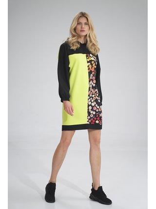 Figl šaty  -  černá / limetková