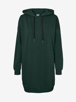 Tmavě zelené mikinové šaty s kapucí Noisy May Hattie