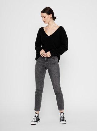 Tmavě šedé slim fit džíny Pieces Lili
