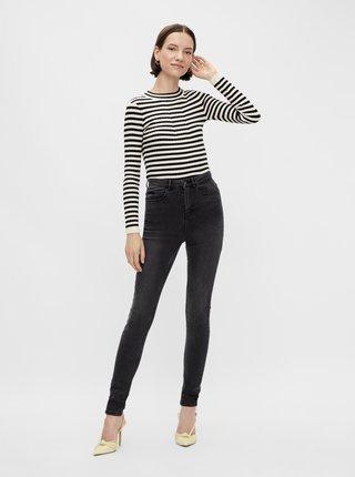 Tmavě šedé skinny fit džíny Pieces Flex