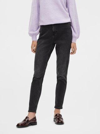 Tmavě šedé mom džíny Pieces Kesia