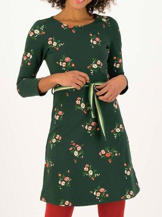 Tmavozelené kvetované šaty s opaskom Blutsgeschwister Très Charmeuse