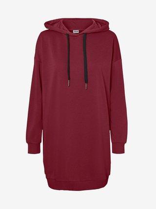 Vínové mikinové šaty s kapucí Noisy May Hattie