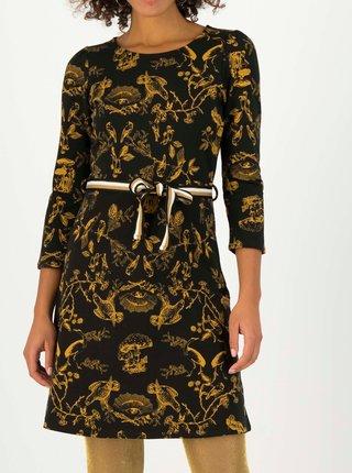 Černé vzorované šaty s páskem Blutsgeschwister Très Charmeuse