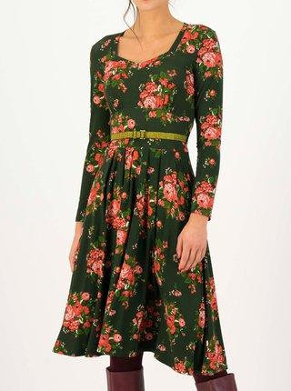 Tmavozelené kvetované šaty s opaskom Blutsgeschwister My Autumn Heart