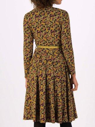 Žlto-čierne kvetované šaty s opaskom Blutsgeschwister My Autumn Heart