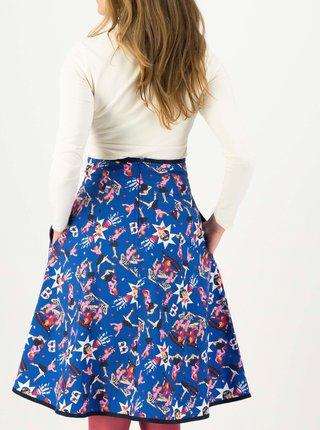 Modrá vzorovaná sukňa s vreckami Blutsgeschwister Harvest Moon