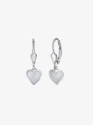 Dětské stříbrné náušnice Krémové srdce PRAQIA