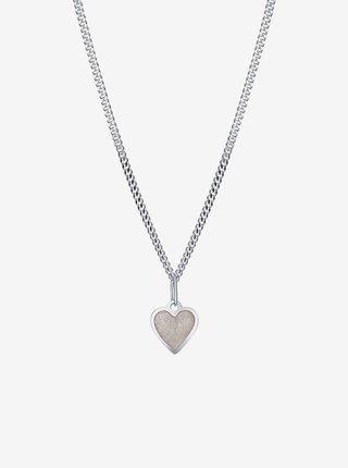 Dětský stříbrný přívěsek na řetízku Krémové srdce PRAQIA